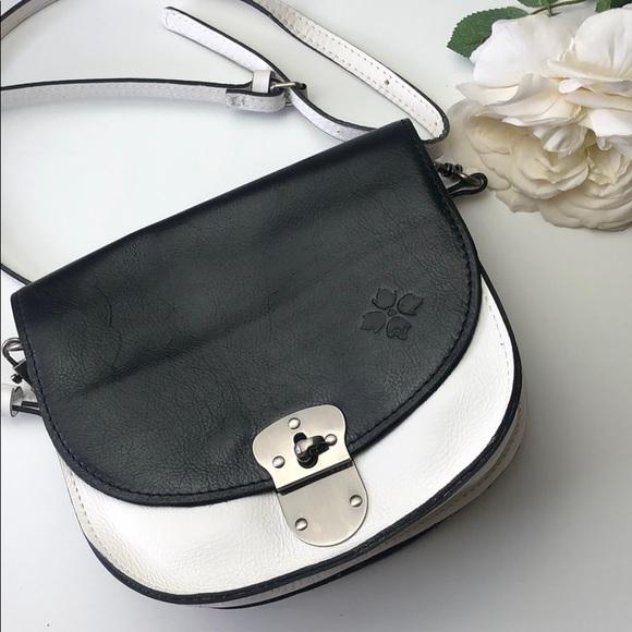Patricia Nash black & white leather crossbody bag